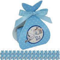 30 Geschenkboxen in hellblau mit Storch - Its a boy -