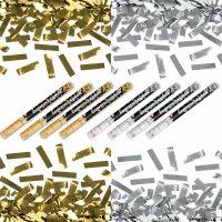 4x Silber- & 4x Goldregen im 8er Set Konfettikanone