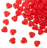 100 rote Acryl Herzen mit 12 mm Durchmesser - Dekosteine...