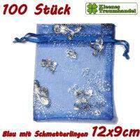 100 Organzabeutel - 9x12 cm - blau mit Schmetterlingen