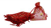 100 rote Organzabeutel mit goldenen Herzen - 9x12cm