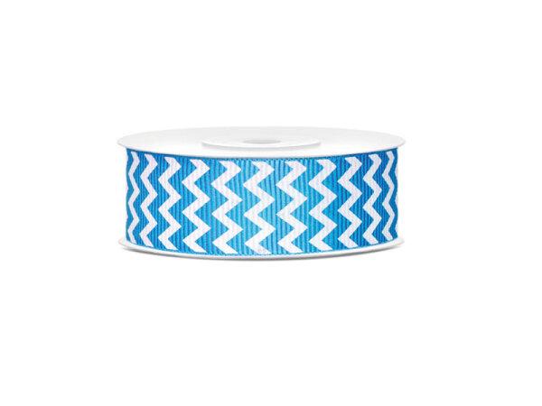 1 Rolle Ripsband - Blau mit Fischgrätenmuster - TRP25-1-083