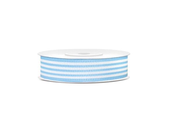 1 Rolle Ripsband - Hell-Blau mit Streifen