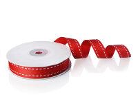 1 Rolle Ripsband - Rot mit Streifen