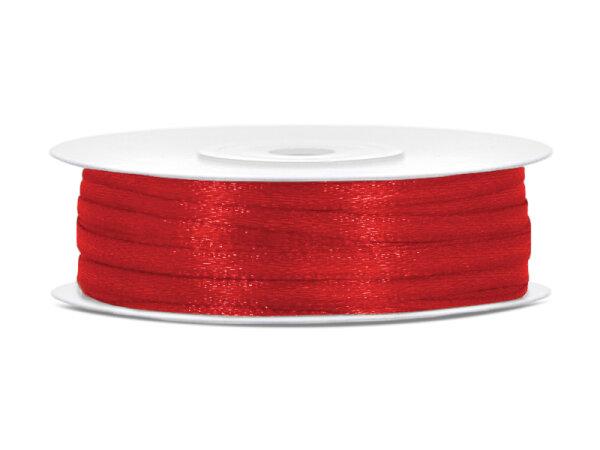 10x Satinband - 50 m - 3 mm - Rot