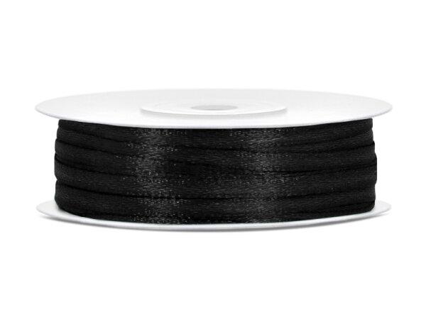 10x Satinband - 50 m - 3 mm - Schwarz