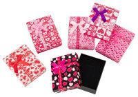 12x Geschenkboxen mit Herzen und Schleife - 7x9x2,8 cm