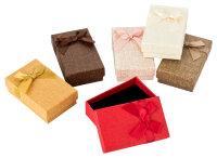 24x Geschenkboxen mit Leinenoptik mit Samteinlage 5x8x2,6 cm