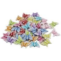 200 Schmetterlings Spacer - bunt - 15mm