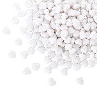 100 Acryl Herzen - weiß (voll)