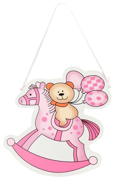Türschild aus Holz - 27x29 cm - Teddy auf Schaukelpferd - Rosa