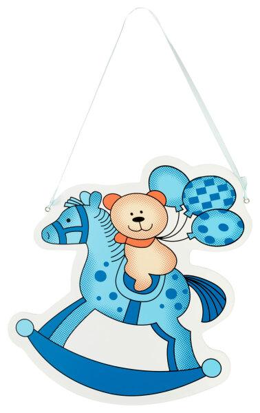 Türschild aus Holz - 27x29 cm - Teddy auf Schaukelpferd - Blau