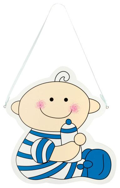 Türschild aus Holz - 26x29 cm - Baby mit Flasche - Blau