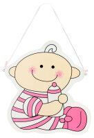 Türschild aus Holz - 26x29 cm - Baby mit Flasche - Rosa