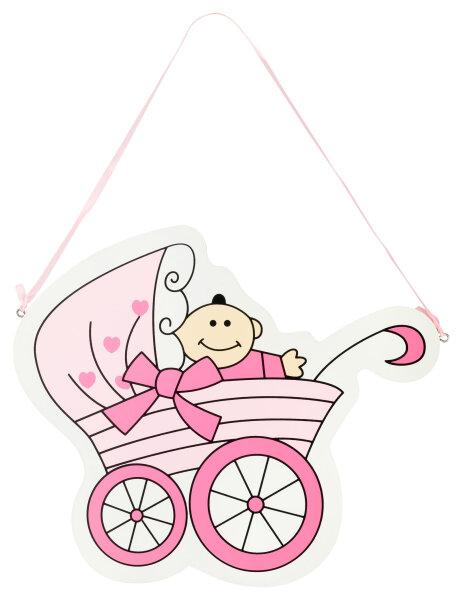 Türschild aus Holz - 25x30 cm - Baby in Kinderwagen - Rosa