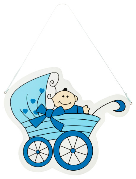Türschild aus Holz - 25x30 cm - Baby in Kinderwagen - Blau