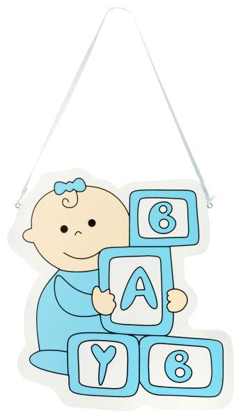 Türschild aus Holz - 28x30 cm - Baby Bauklötze - Blau