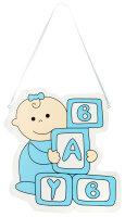 Türschild aus Holz - 28x30 cm - Baby Bauklötze...