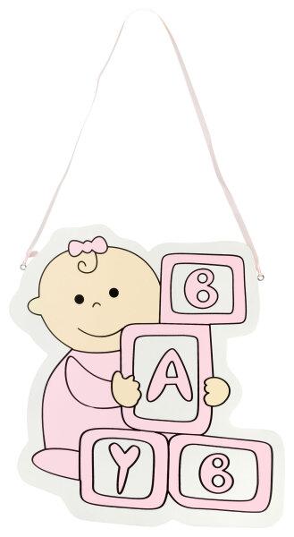 Türschild aus Holz - 28x30 cm - Baby Bauklötze - Rosa