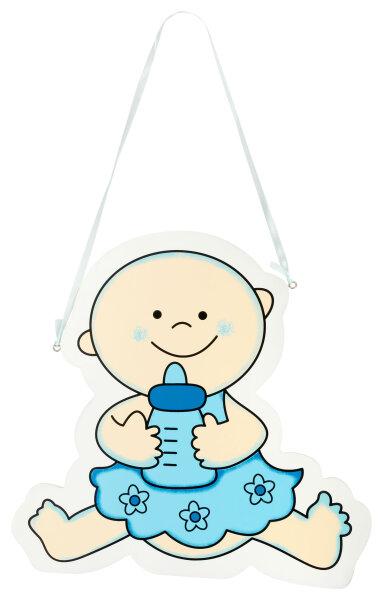 Türschild aus Holz - 29x28 cm - Baby mit Flasche V2 - Blau