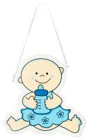 Türschild aus Holz - 29x28 cm - Baby mit Flasche V2...