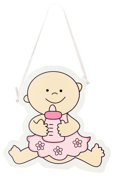 Türschild aus Holz - 29x28 cm - Baby mit Flasche V2 - Rosa