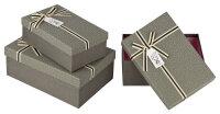 3 graue Geschenkboxen mit grauem Deckel -...