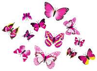 12er Set rosa-bunte Dekoschmetterlinge mit Magnet