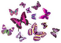 12er Set lila-bunte Dekoschmetterlinge mit Magnet