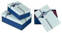 3 blaue Geschenkboxen mit hellblauem Deckel -...