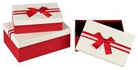 3 rote Geschenkboxen mit weißem Deckel -...