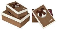 3 braune Geschenkboxen mit braun-weißem Deckel - Paris