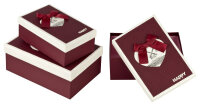 3 bordeaux Geschenkboxen mit bordeaux-weißem Deckel...