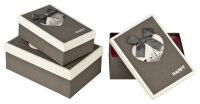 3 graue Geschenkboxen mit grau-weißem Deckel - Paris