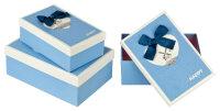 3 blaue Geschenkboxen mit blau-weißem Deckel -...