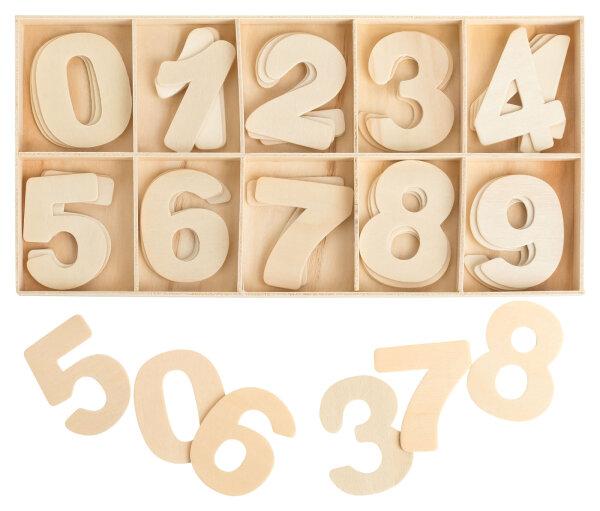 Zahlenkasten Holz Natur - 5,4 cm hoch - je 4 hölzerne Zahlen - 40 Teile