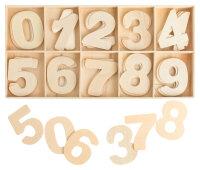 Zahlenkasten Holz Natur - 5,4 cm hoch - je 4...