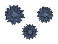 Paper decorations Flowers, dark navy blue (1 pkt / 3 pc.)