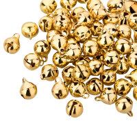 100 Kupfer Glöckchen 11x7 mm - Gold und Silber je 50...