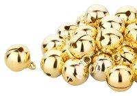 100 Kupfer Glöckchen 17x13 mm- Gold und Silber je 50...