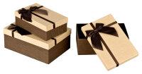 3 braune Geschenkboxen mit hellbraunem Deckel - braun...