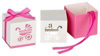 30 Geschenkboxen - pinkes Band - Kinderwagenausschnitt