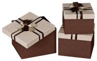 3 Geschenkboxen mit Deckel - braun-beige mit Schleife