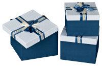 3 Geschenkboxen mit Deckel - blau-weiß mit Schleife