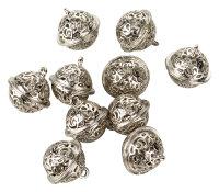 10 silberne Glöckchen mit 18mm Durchmesser - Ornamente