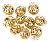 10 goldene Glöckchen - Apfelform - mit Ornamenten