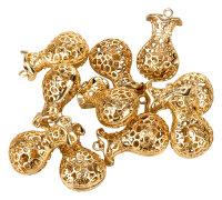 10 goldene Glöckchen - Karaffenform - mit Ornamenten