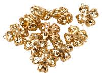 10 goldene Glöckchen - Kleeblatt - mit Ornamenten