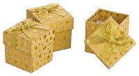 30x Geschenkbox 5x5x5 cm - gold glitzernd - goldene Schleife