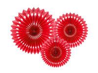 Rosetten-Papierfächer 20-30 cm - 3er Set - rot